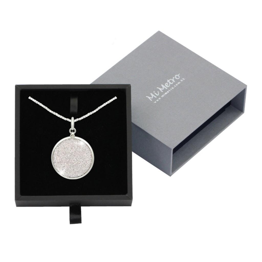 MiMetro x SWAROVSKI銀色水晶飾布成人八達通配方形鐵石長頸鏈套裝