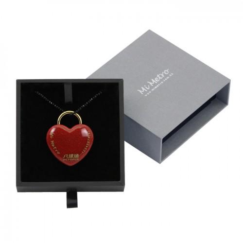 鮮紅色閃砂迷你心形MiMetro成人八達通配黑色水晶長頸鏈套裝